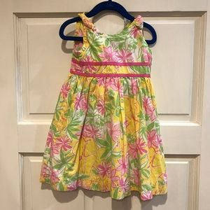 LILLY PULITZER Girls Yellow Pink Floral Elephants